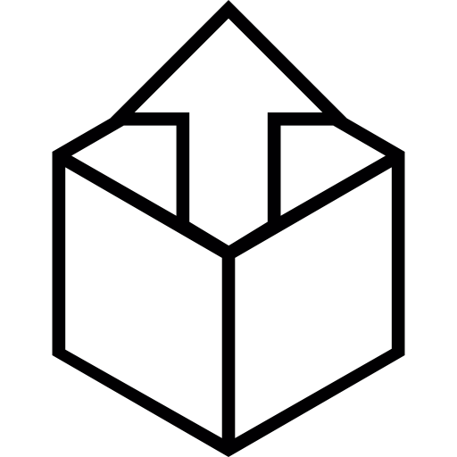 Cube outline png. Arrow up from a
