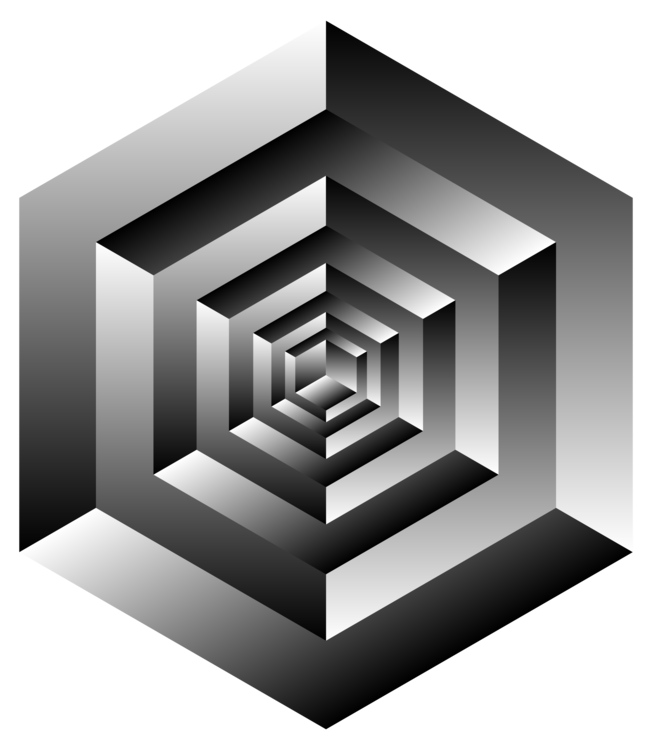 Cubes vector impossible. Penrose triangle cube optical
