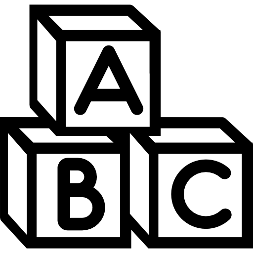 Cubes vector template. Baby abc icons free