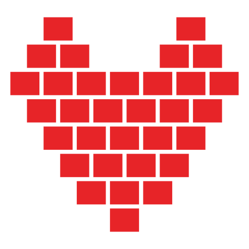 Cubes vector red. Heart made of sticker