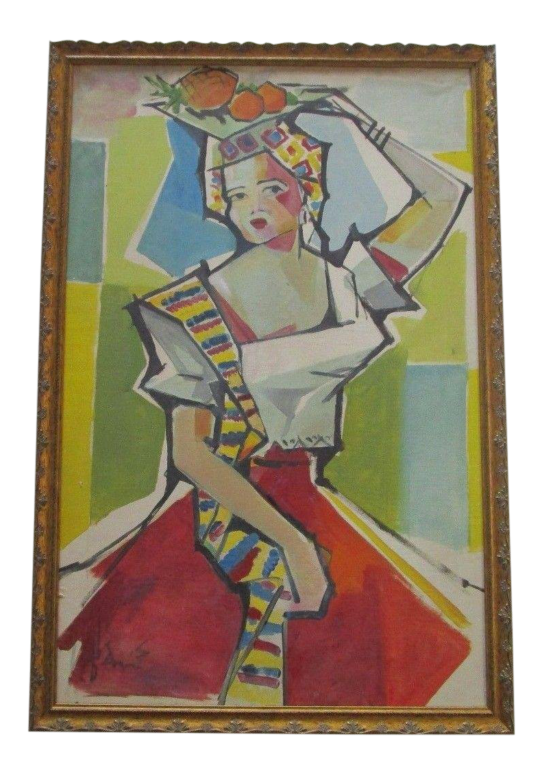 Cubism drawing. Mid century painting abstract