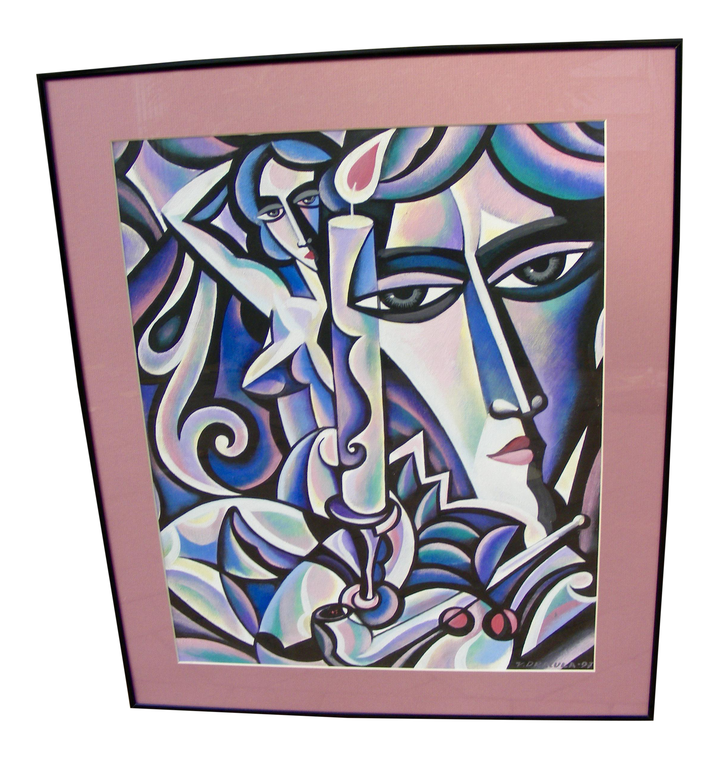 Cubism drawing. Vintage modern acrylic painting