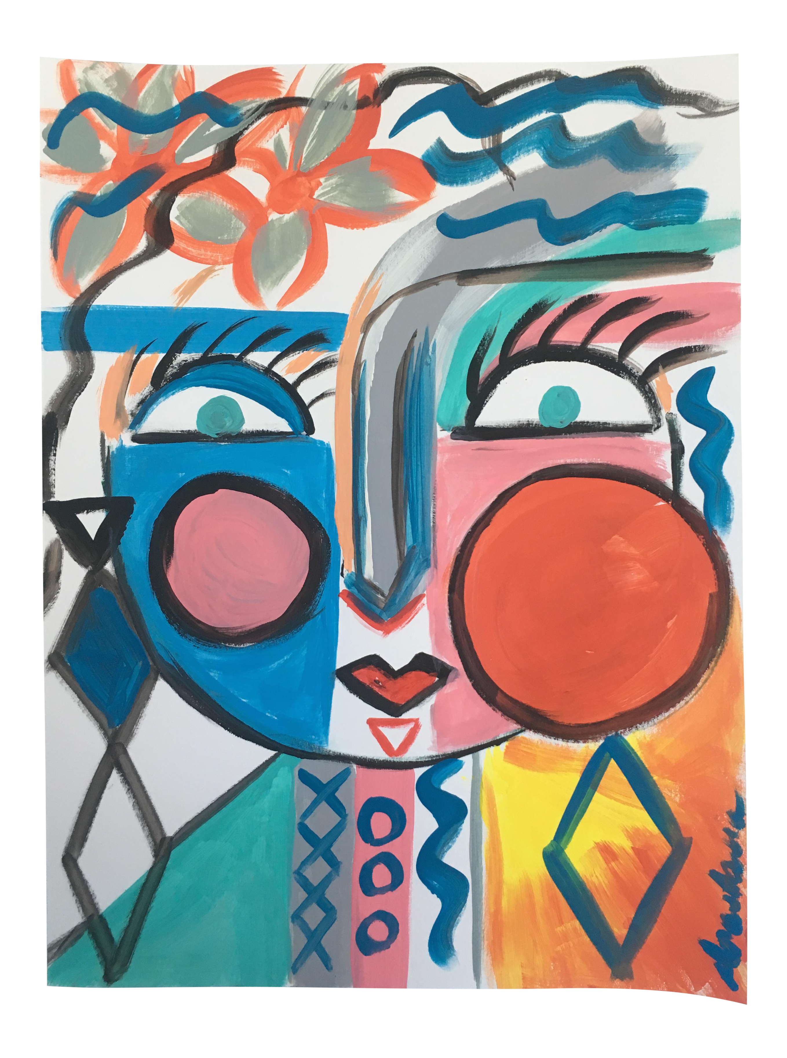 Cubism drawing acrylic. Original spring face abstract
