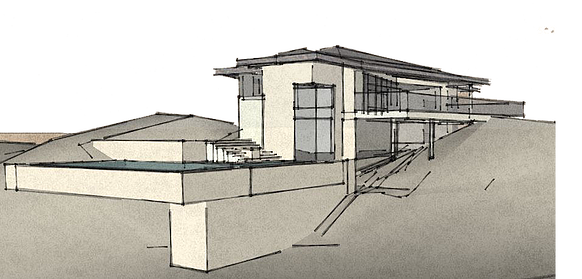 Cubism drawing building. Home mid century contemporary