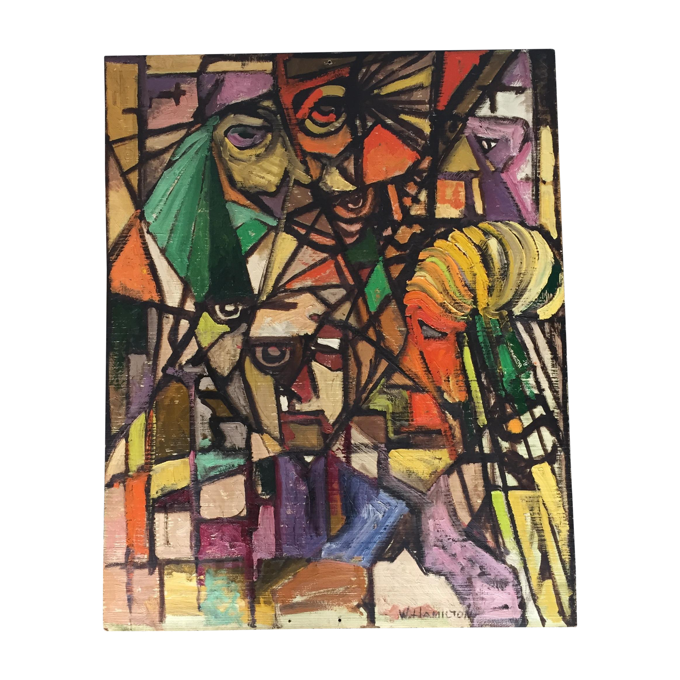 Cubism drawing colorful. Vintage abstract signed cubist