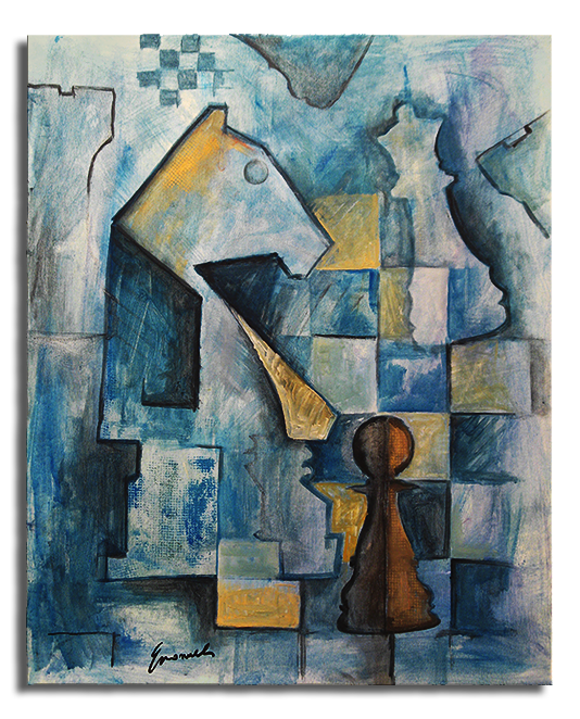 Cubism drawing cubist. Chess city scapes blue