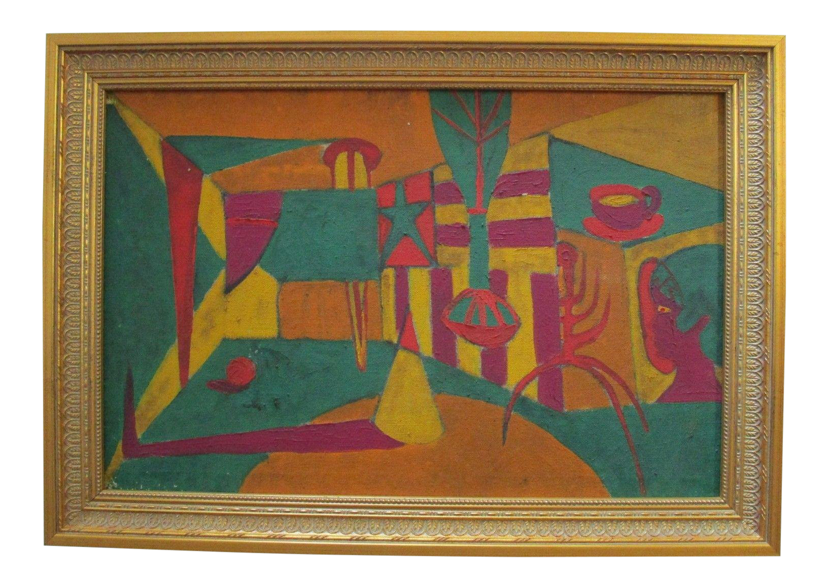 Cubism drawing vase. William brun painting psychedelic