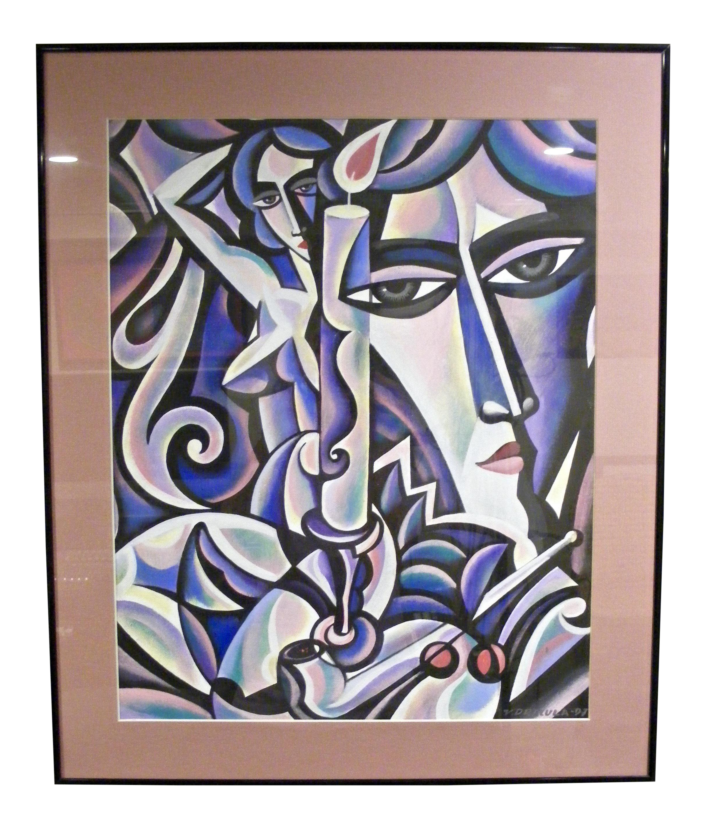 Cubism drawing graffiti. Contemporary modern art painting