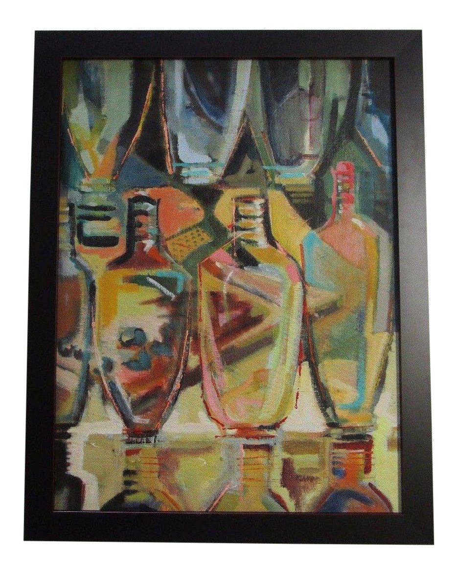 Cubism drawing plant. Mid century modernist painting