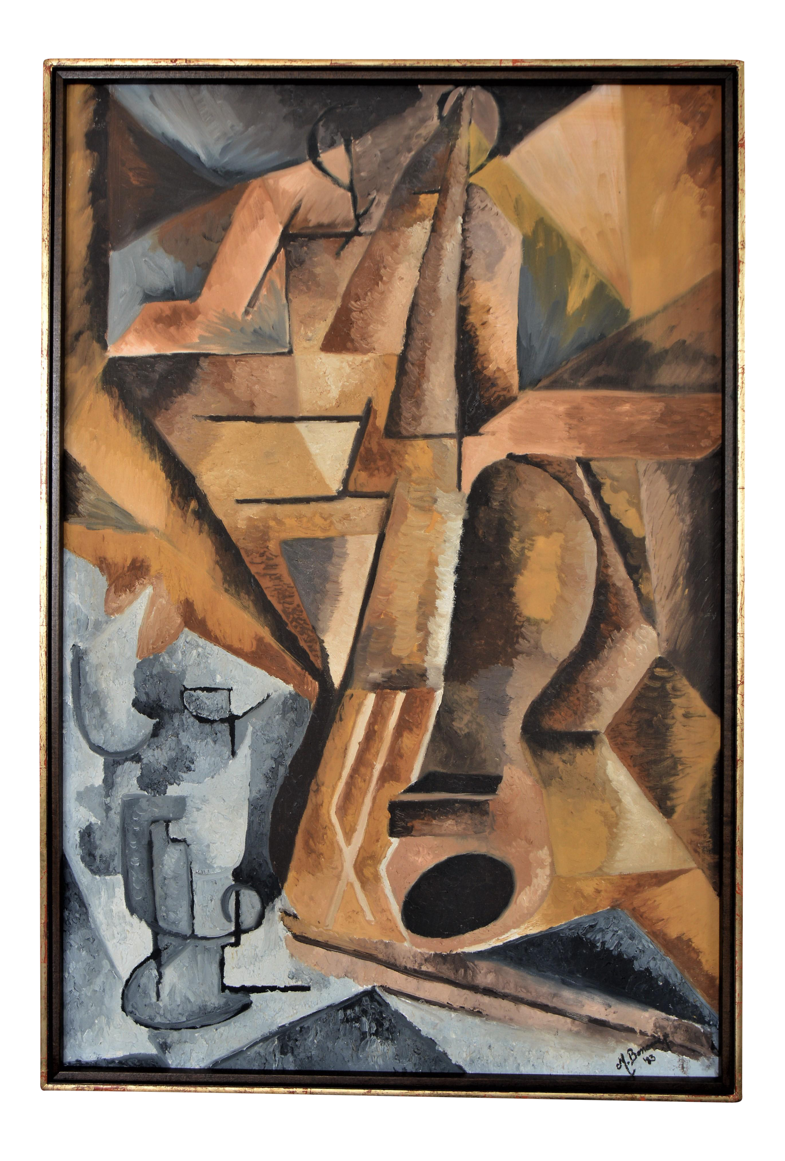 Cubism drawing plant. Vintage abstract cubist oil