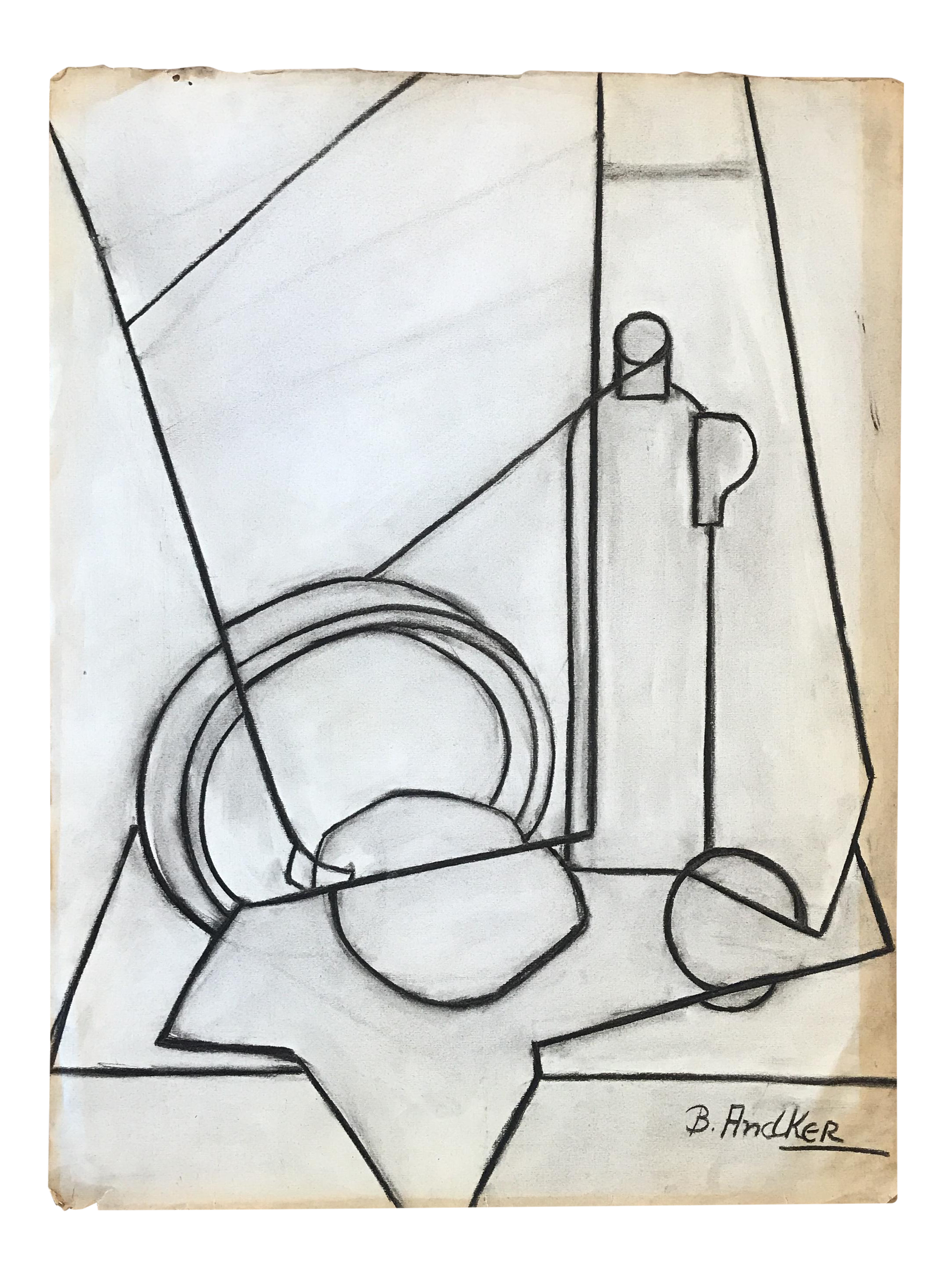 Cubism drawing sketch. S charcoal cubist