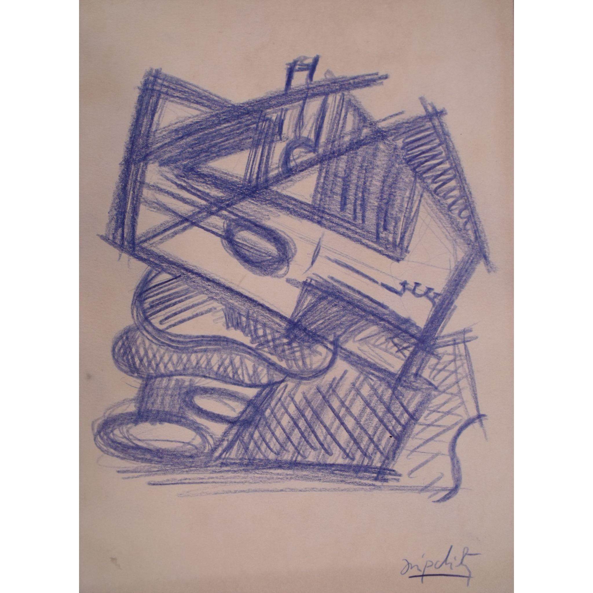 Very rare jacques lipchitz. Cubism drawing pen jpg royalty free stock