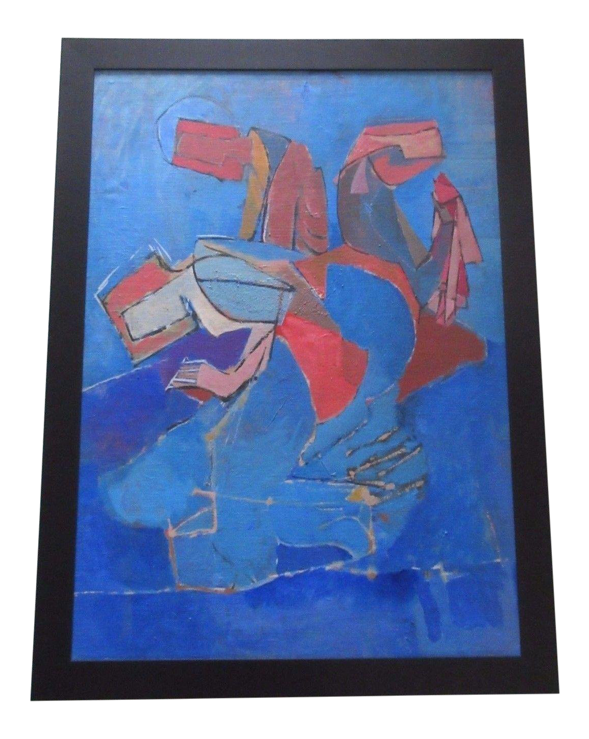 Cubism drawing vase. Large mid century expressionism