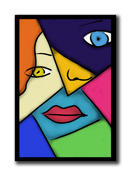 Pop art poster diy. Cubism drawing clip art free stock