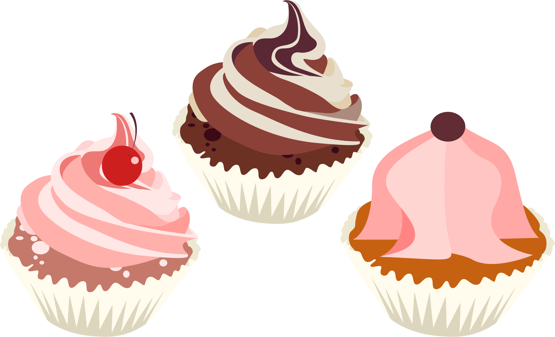 Cup cakes png. Three delicious cupcakes icons