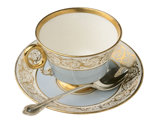 Cup clipart english teacup. Blue and gold tea