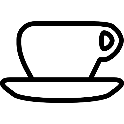 Teacup svg sketch. And saucer outline icons