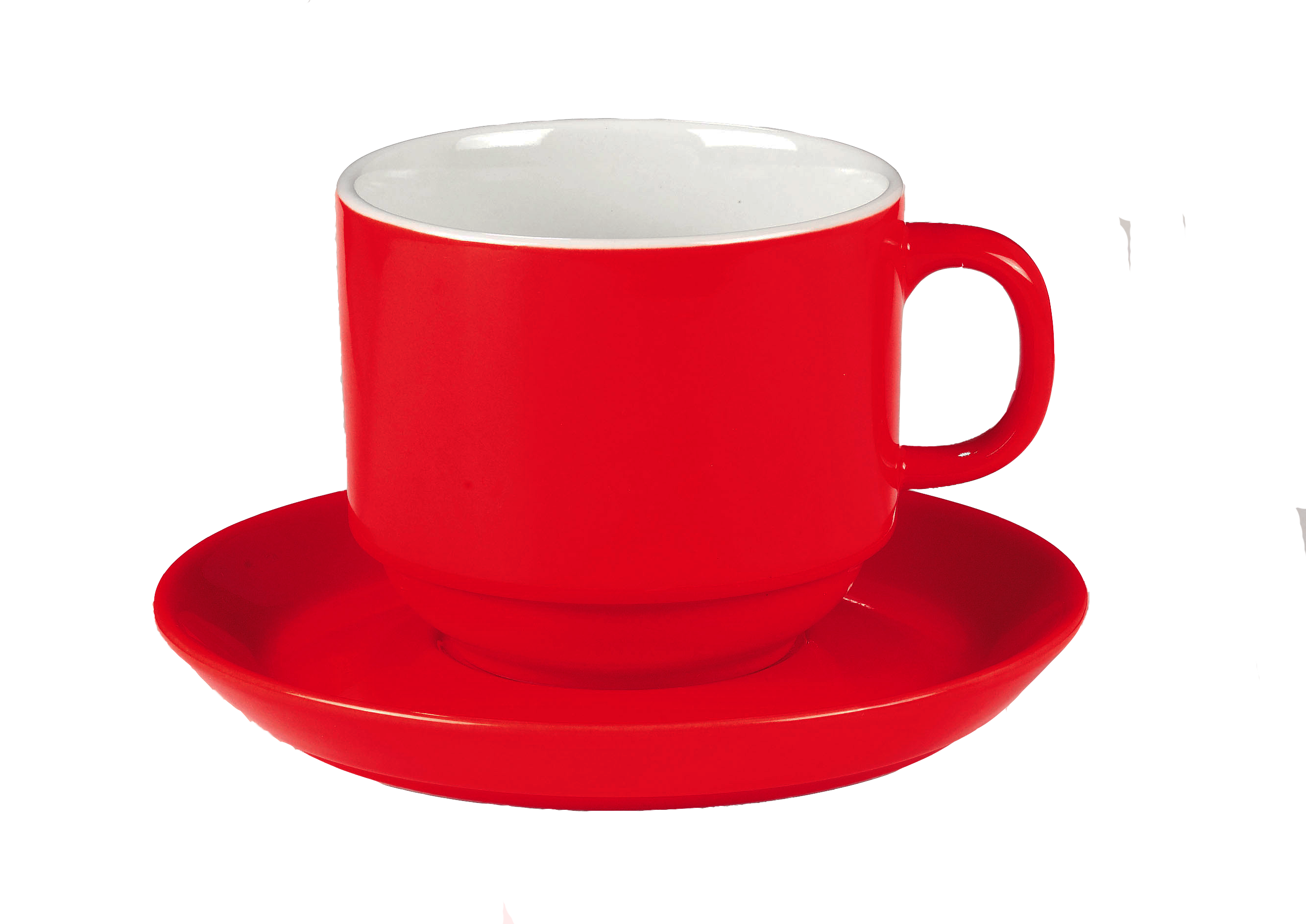 cup transparent red plastic