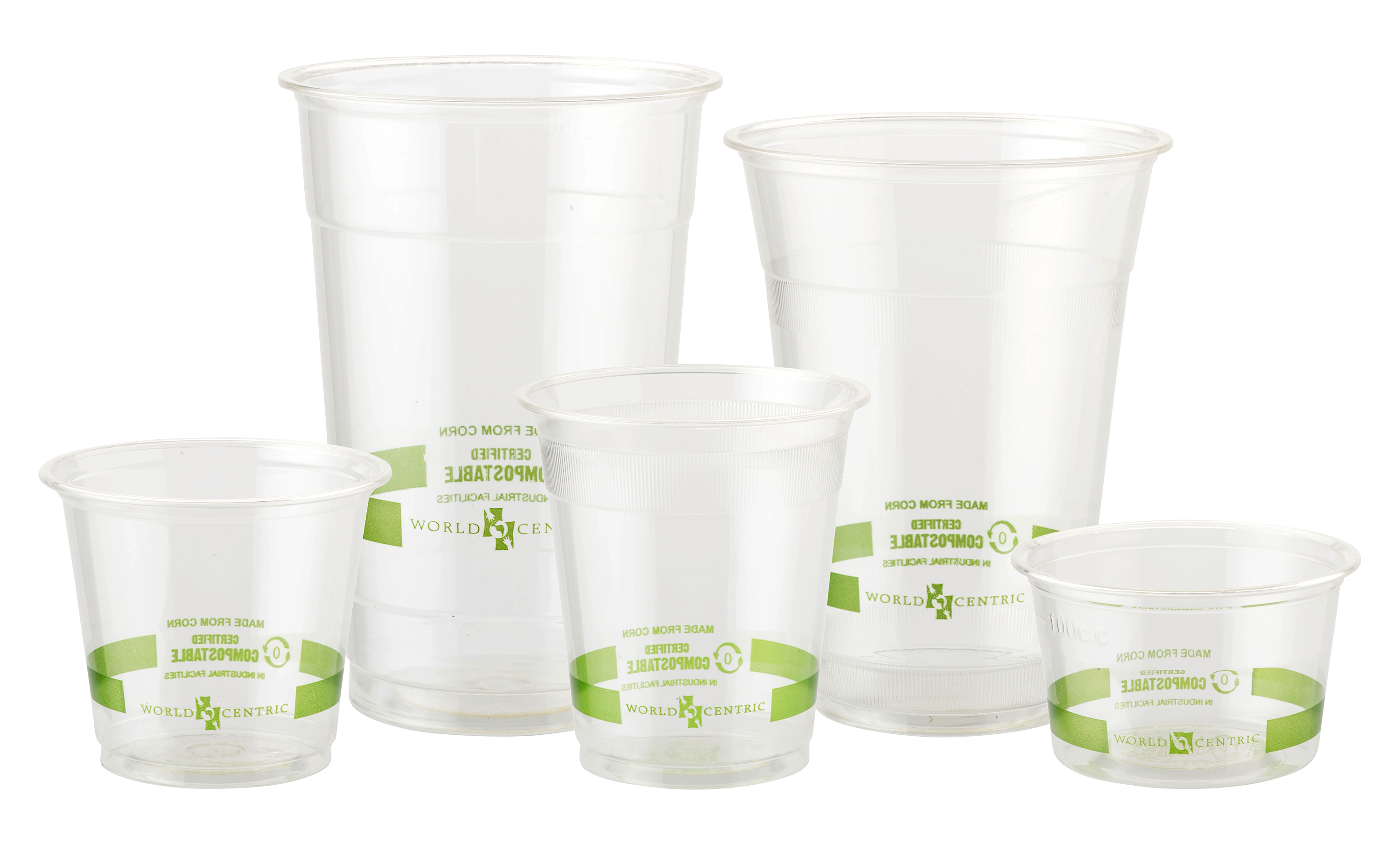 Cup transparent disposable. Biocompostables biodegradable ingeo cold