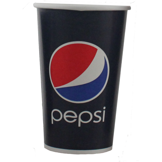 Cup transparent cold. Pepsi cardboard and coating