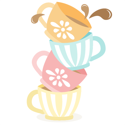 Cup transparent cute tea. Collection of free cupped