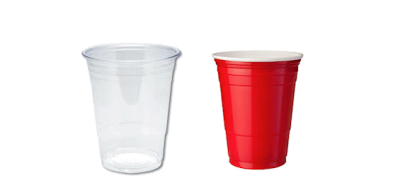 Cup transparent disposable. Plastic cups for takeaway