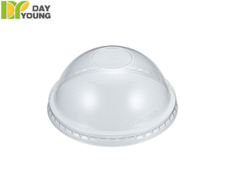 Cup transparent dome lid. Plastic cups with lids
