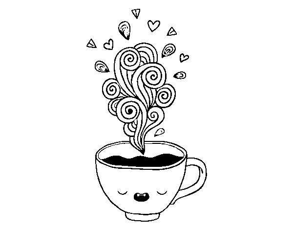 Cup transparent kawaii. Of coffee coloring page