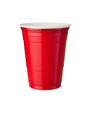 Cup transparent party. Red s cheers online