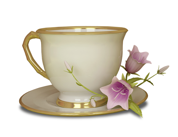 Cup transparent tea. Cream and gold with