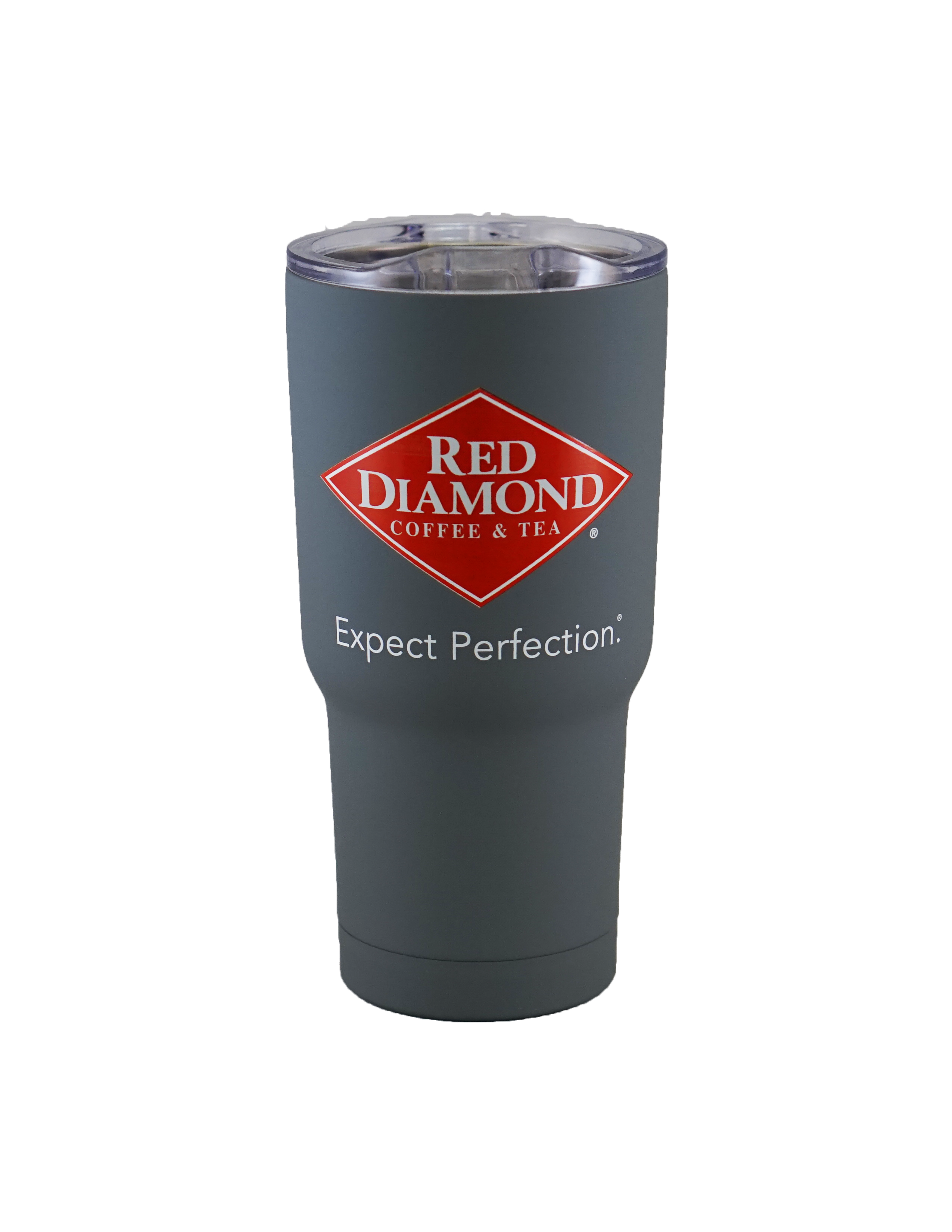 Cup transparent tumbler. Red diamond soft touch