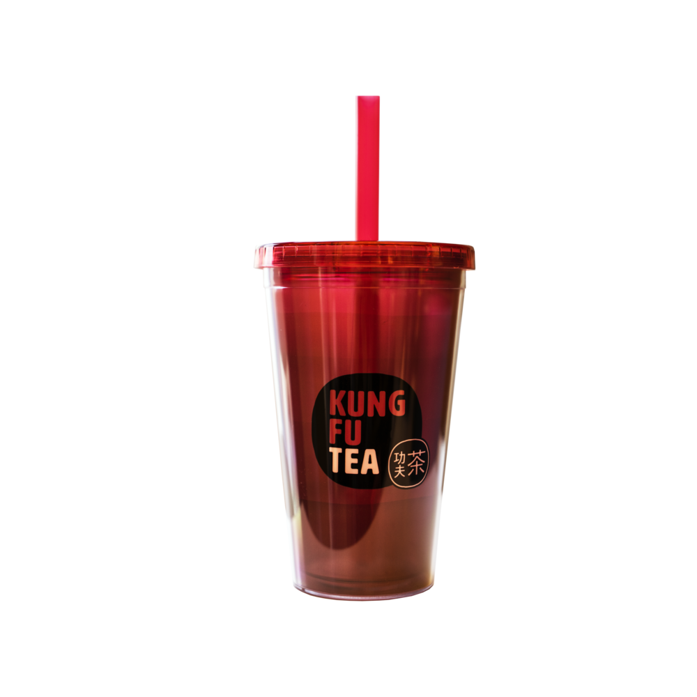 Cup transparent tumbler. Empty code red kung