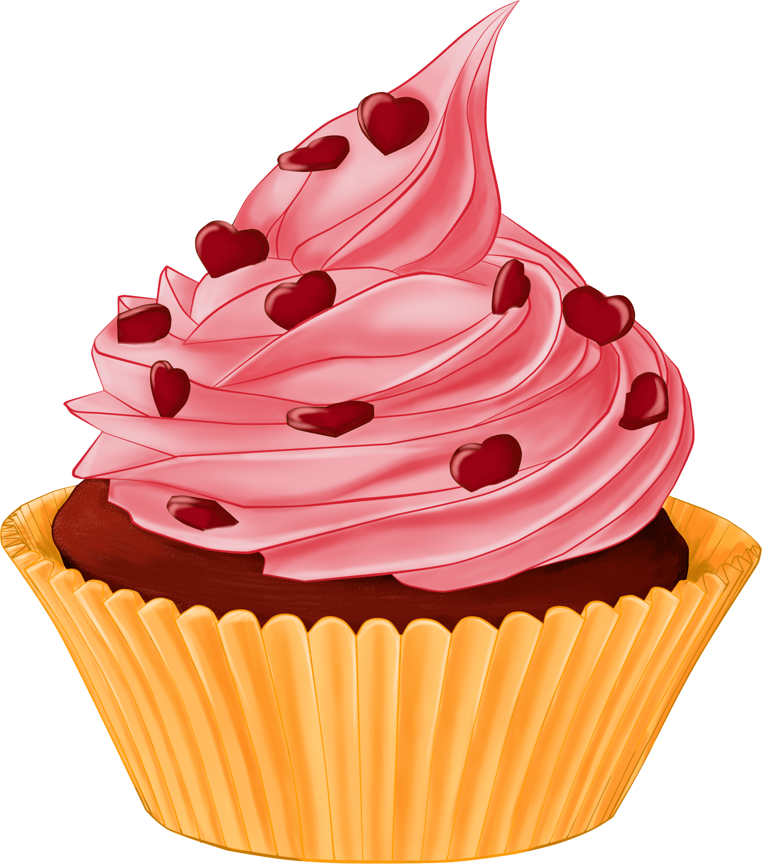 Vector cupcakes cherry top. Cartoon cupcake heart topping