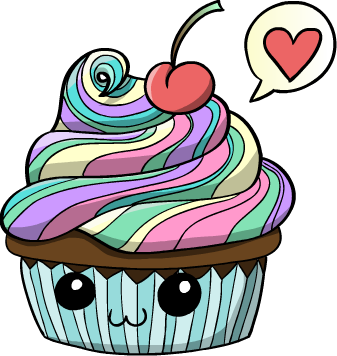 Cupcakes clipart colored cupcake. Cute cartoon rainbow by