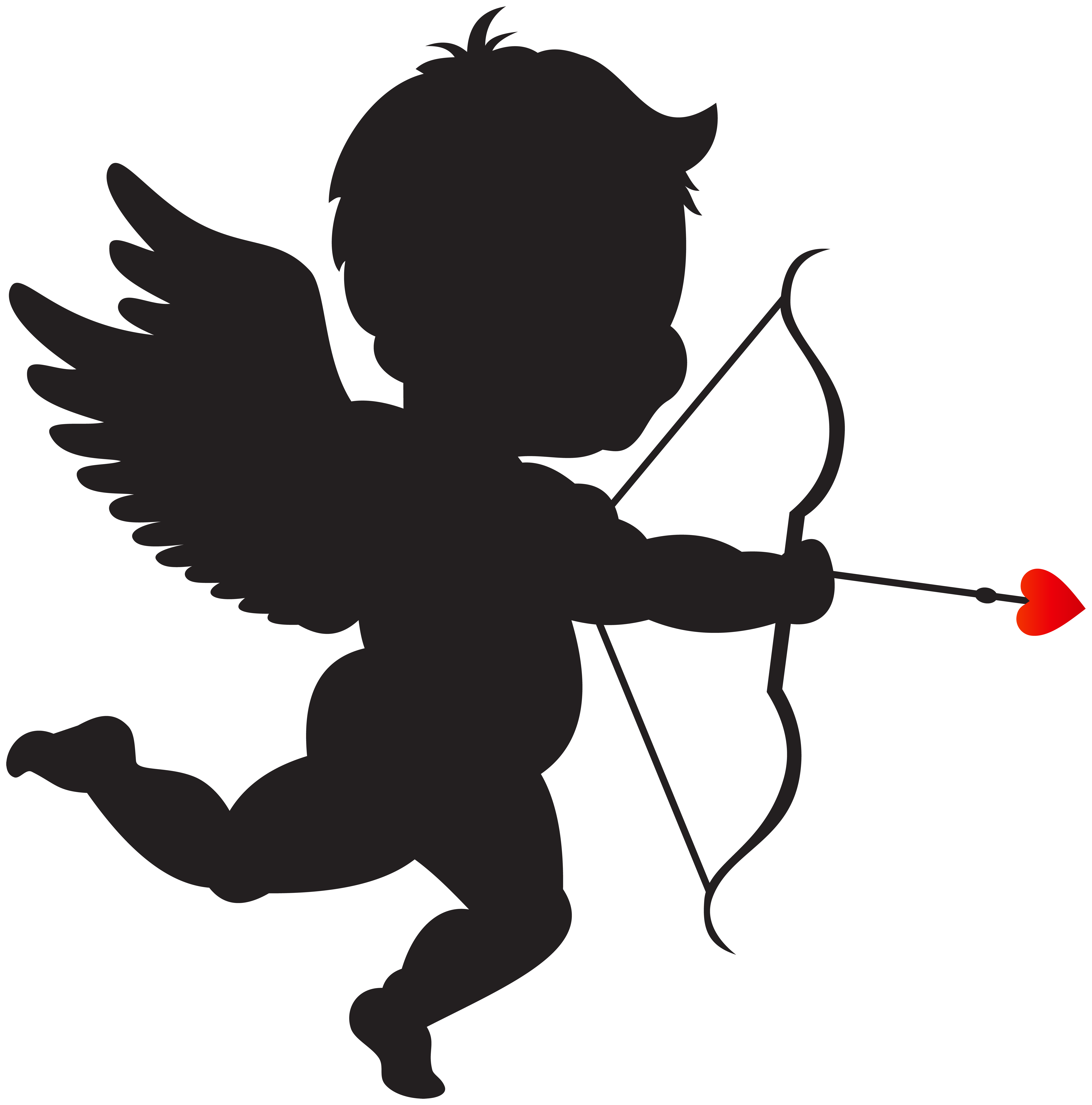 Cupid clipart. With bow silhouette png