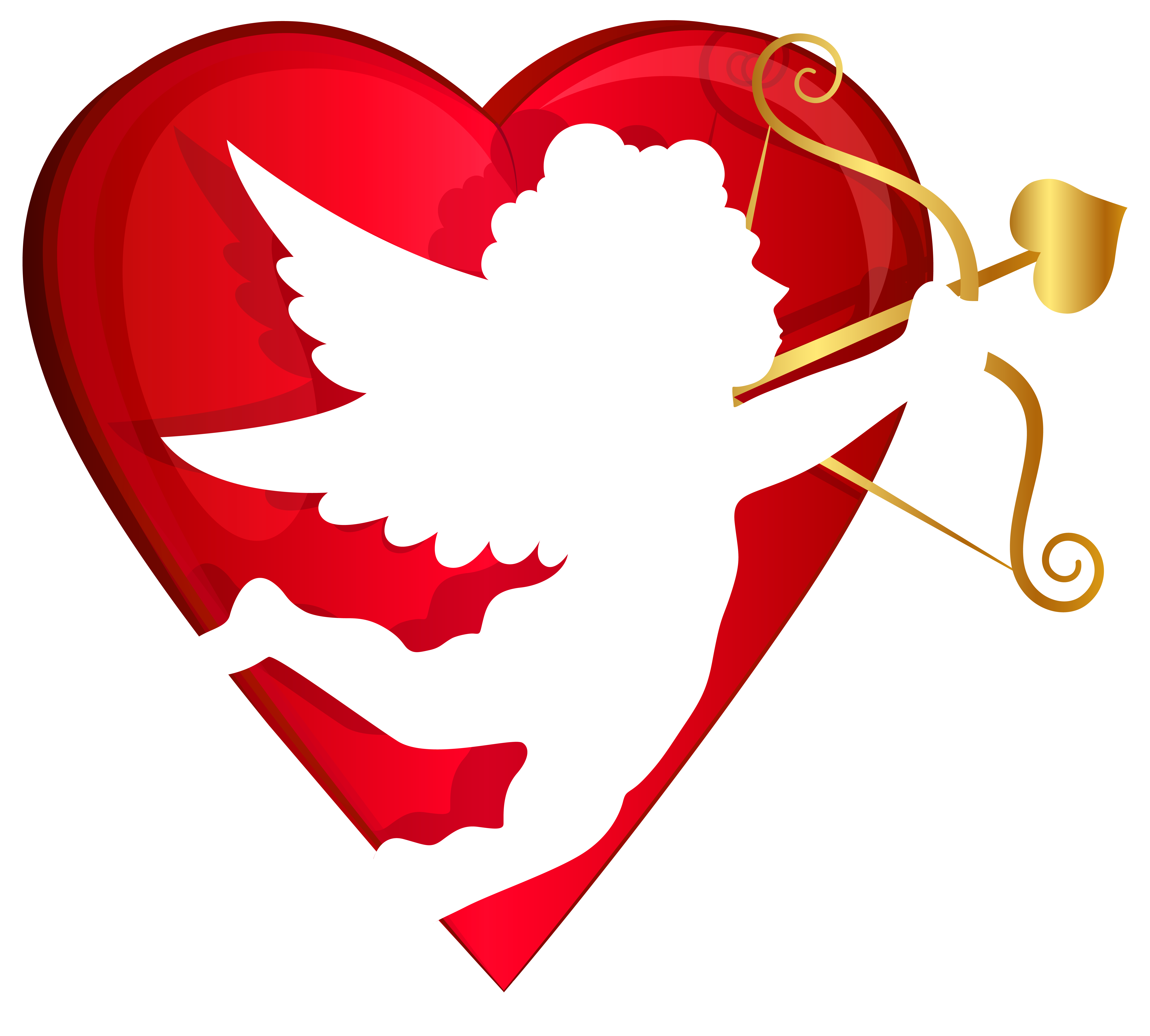 Cupid clipart. Red heart and transparent