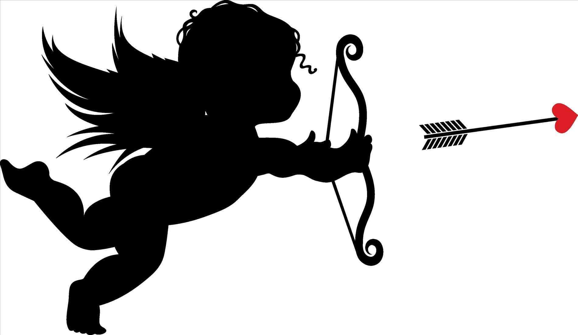 Cupid clipart modern. In color valentines day