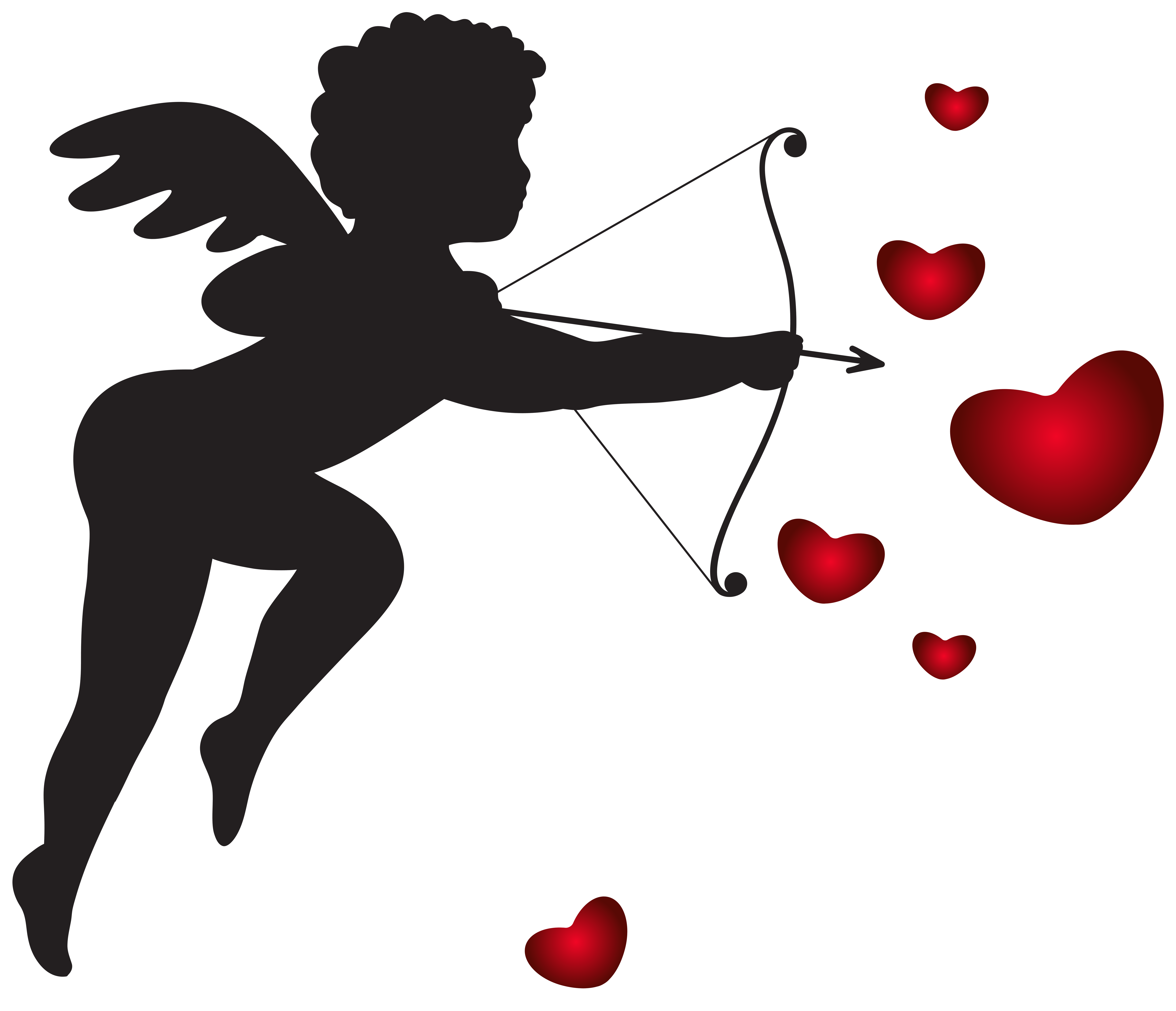 With bow and hearts. Valentines cupid png banner free library