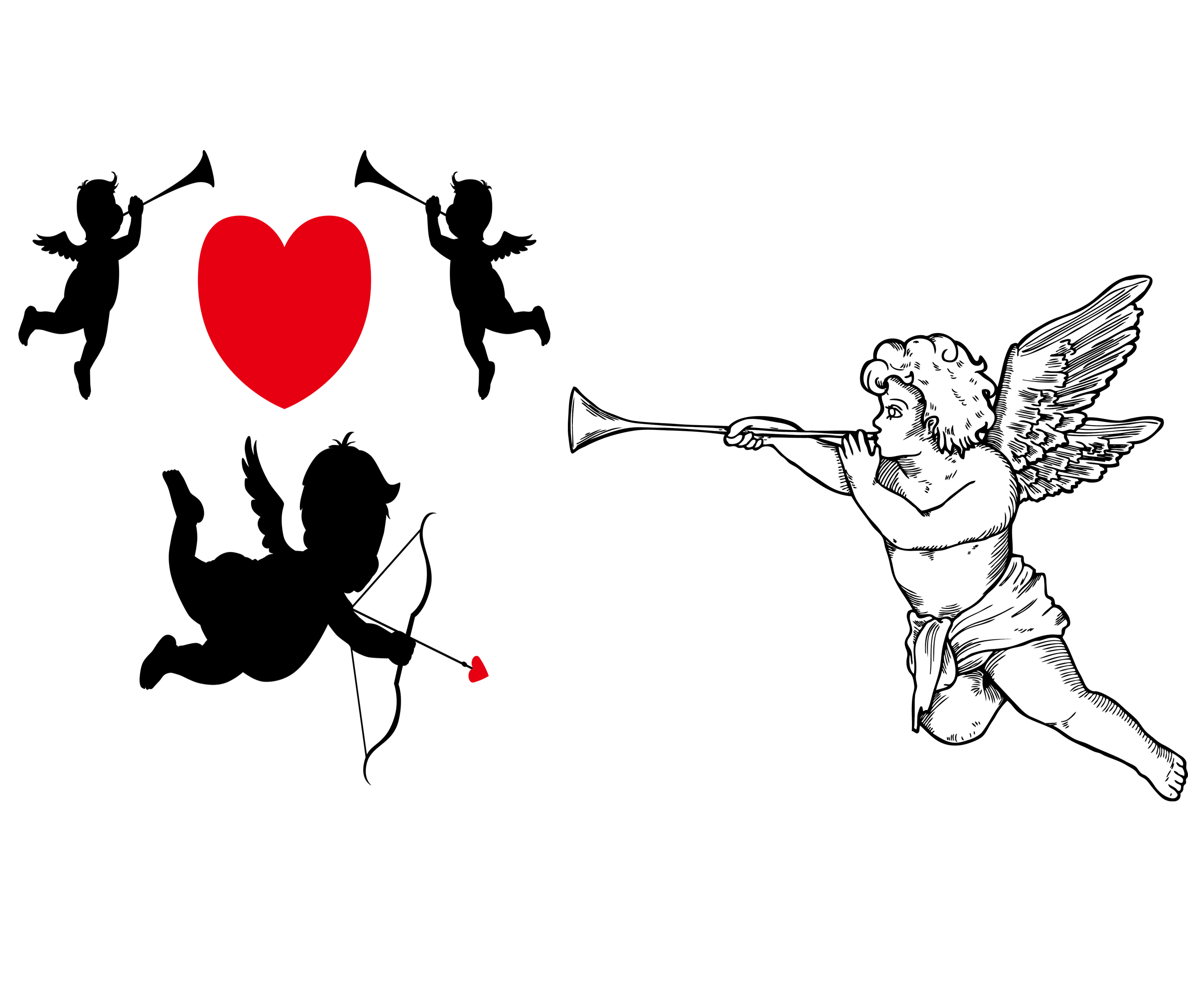 Cupid silhouette png. Clip art and sculpture