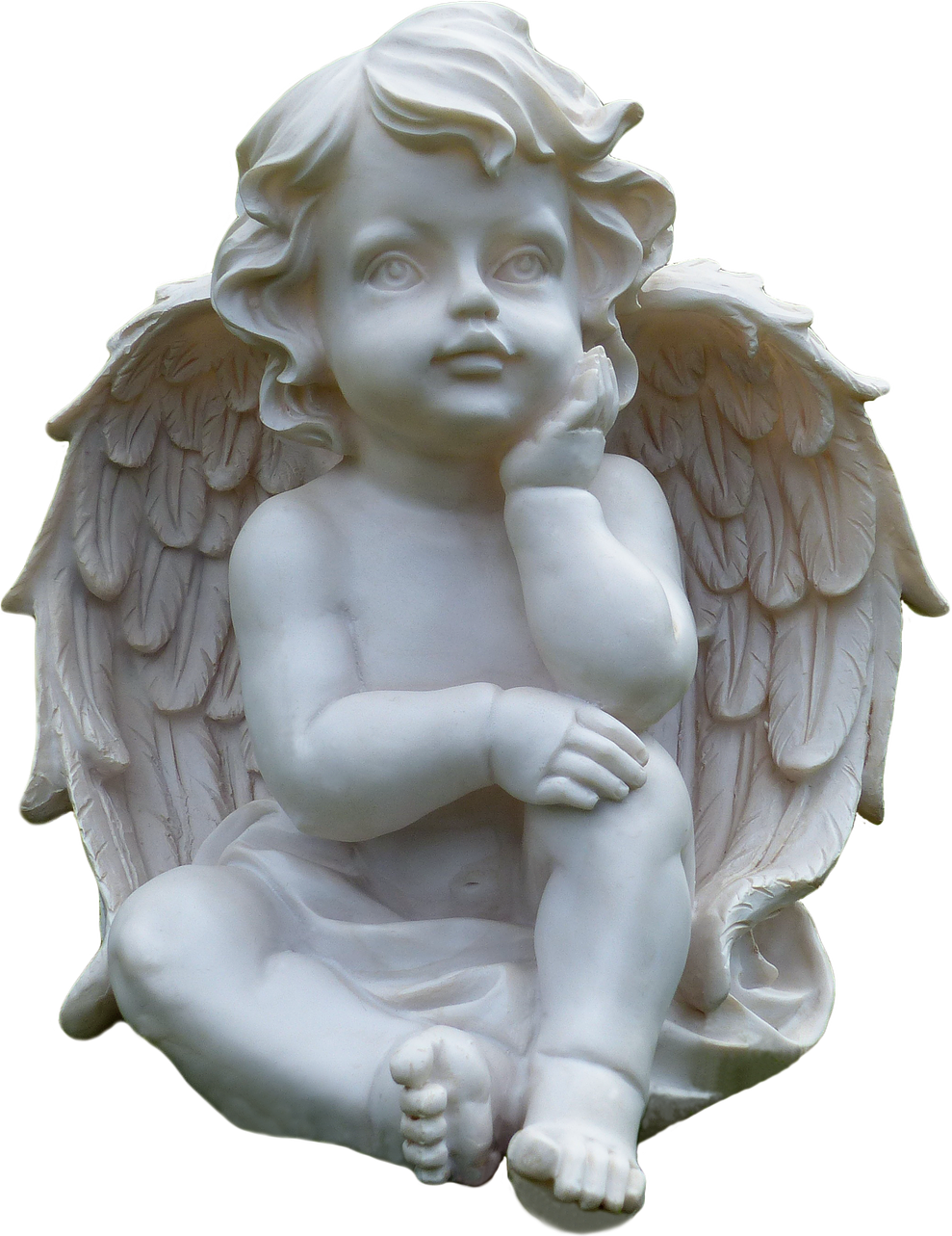 Thinking statue png. Cupid transparent image mix