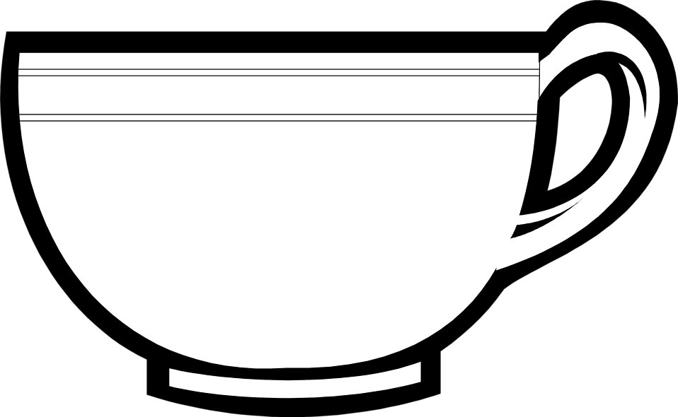 Drawing coffee outline. Tea cup clipart line