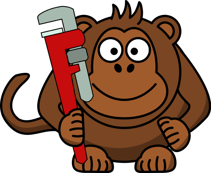 Free monkey clipart wrench. Sad animals png clip art black and white download