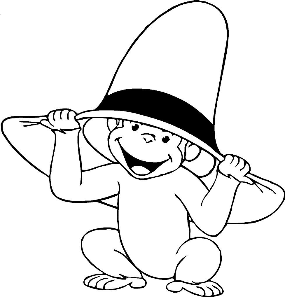 Curious george clipart monkey. Superior coloring pages of