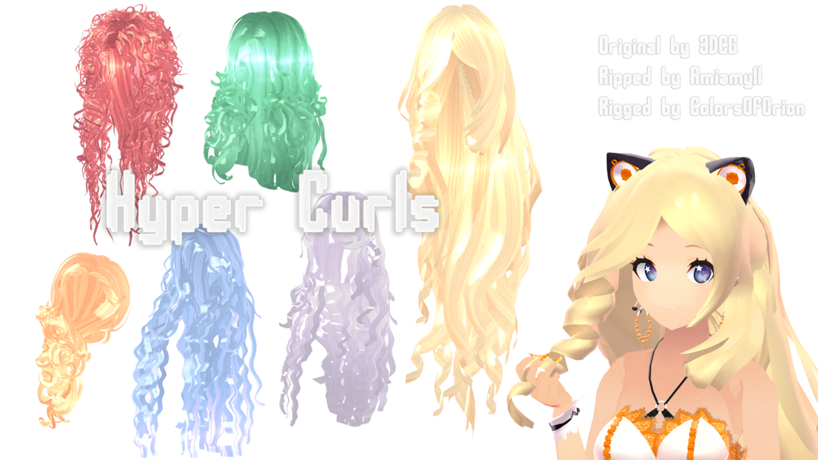 Curls drawing anime. Mmd parts hair hyper