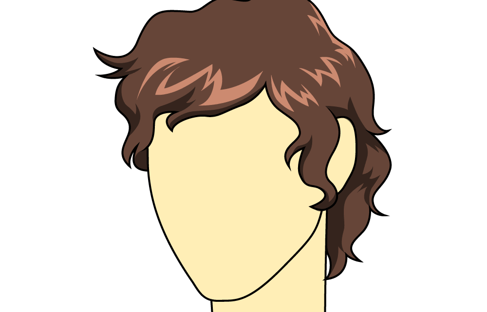 Curls drawing cartoon hair. How to draw male