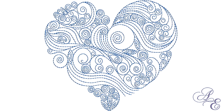 Drawing spiral heart. Quilled art of embroidery