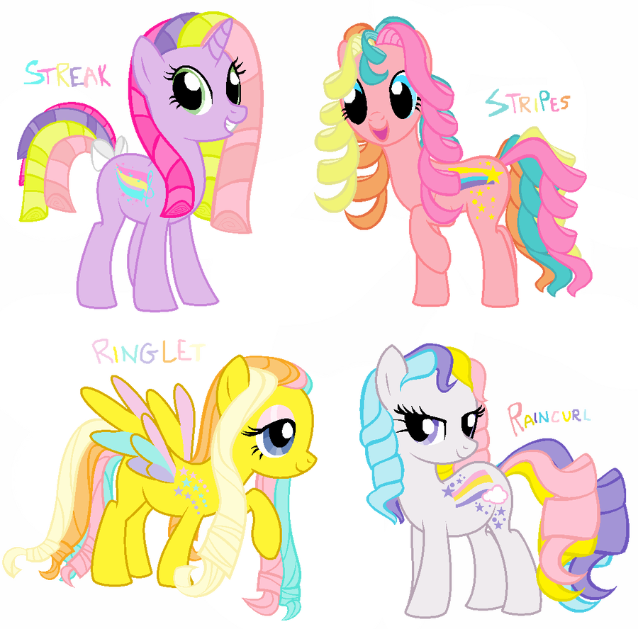 Curls drawing ringlet. Rainbow curl ponies by