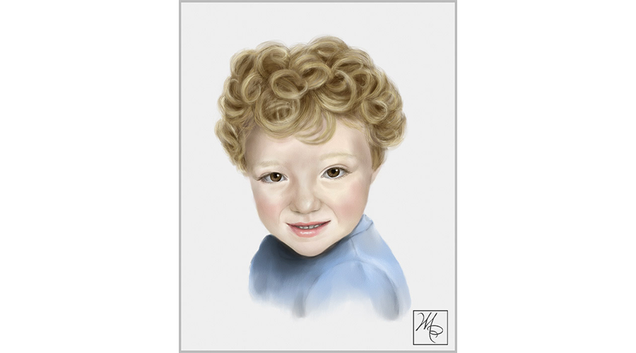 Curls drawing self portrait. Painted and drawn gallery