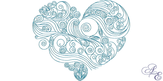 Drawing spiral heart. Wave archives art of