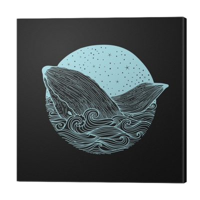 Curls drawing zen. Whale jumping out of